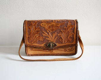 Tooled Bird Satchel Bag
