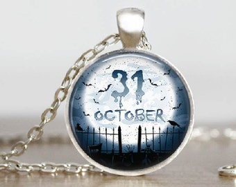 Halloween Jewelry Graveyard Moon Bats Oct 31st Glass Tile Pendant Necklace