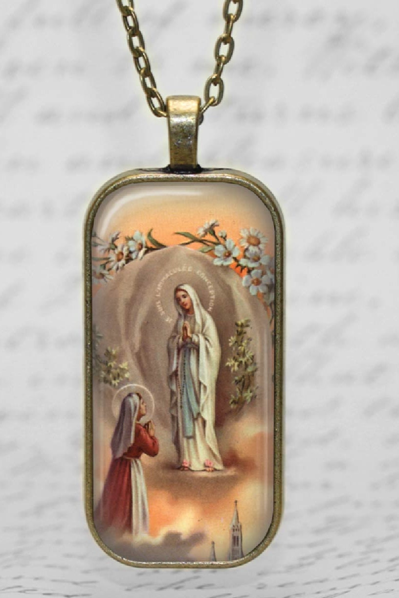blessed glass tile pendant necklace christian