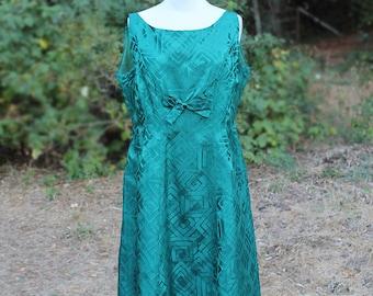 1XL Teal Satin Dress // 1960s Plus Size