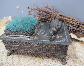 Antique Metal Jewelry Box with Pin Cushion, Etched Design, Duck Figure, Silk Interior