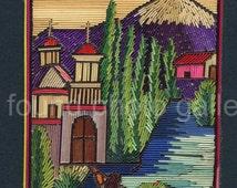 Vintage Embroidered Souvenir, Colorful  Thread, Mexican Village Church Landscape, Travel Ephemera    133215-Ph-2-007