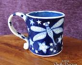 Dragonfly Mug - stoneware ceramic cobalt blue coffee cup