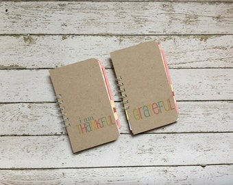 Gratitude Journal . Skinny Mini Grateful Mini Book Album Scrapbook Journal Notebook Thankful Thankfulness
