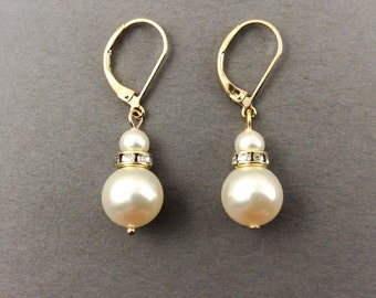 Bridesmaids Gifts Pearl Earrings In Gold With Crystal Roundelles And White Swarovski Crystal Pearls