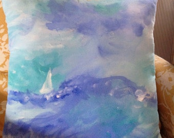 Hand painted watercolor seascape pillow.