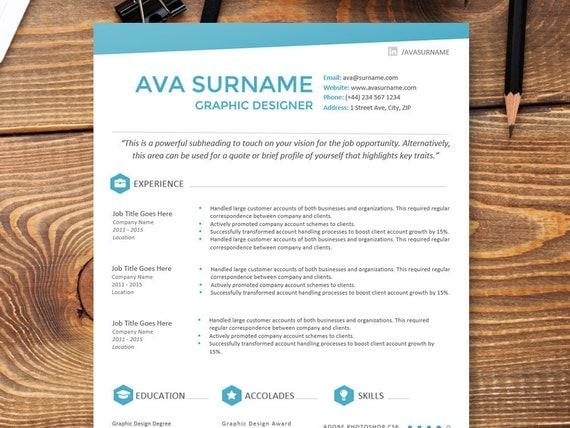 sleek modern resume cv template the ava premium resume