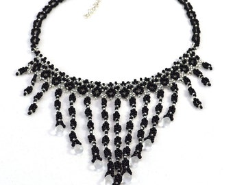 Black Statement Necklace - Fringes - Statement Necklace - 16 Inches