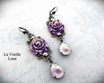 Lavender Victorian Earrings, Cabbage Rose Earrings, Victorian Jewelry