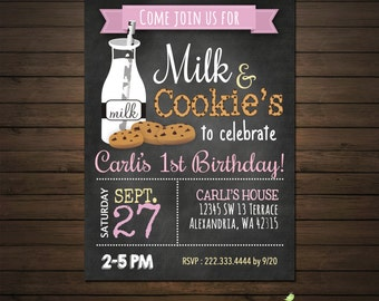 Milk and Cookies Girls Birthday Party Invitation, Printable File, Chalkboard Invitation, Pink