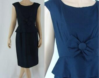 SALE Vintage Sixties Dress - 1960s Blue Silk Dress - 60s Party Dress with Peplum - 60s Sheath Dress - Small