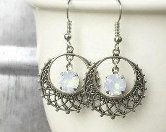 Boho Hoops - White Opal - October Birthstone - Gypsy Earrings - Everyday Earrings - Moonstone Earrings - Coachella Style - Festival Fashion