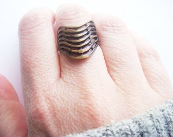 Armor Ring - Minimalist Ring - Minimalist Jewelry - Chevron Ring - Antiqued Medievil Ring