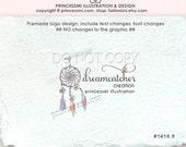 1416-9 Dreamcatcher logo design, cute dreamcatcher feathers logo, boutique logo, business logo,  photography logo by princessmi