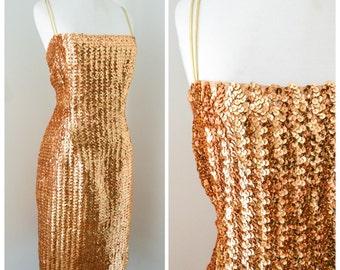 1950s 60s Gold sequin wiggle dress / 50s evening dress - M