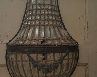 French Style Crystal Beaded Basket Sconce