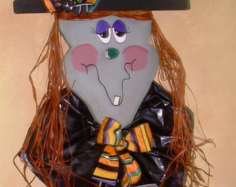 "Primitive  WOOD WITCH Craft Pattern Halloween Stake-60"" Tall"