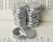10ml screw lidded metal tins, blank round silver color, a set of 20 tin boxes, small storage for diy project