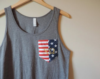 New American Flag Chi Omega Pocket Tank Top Shirt // Sizes S-XL // Gray or White