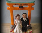 Wedding Cake Topper, Custom Cake Topper, Bride and Groom, Torii Gate, Japan, Asia, Polymer Clay, Wedding, Anniversary, Keepsake