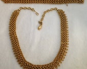 Vintage Faux Gold Necklace and Bracelet signed Coro