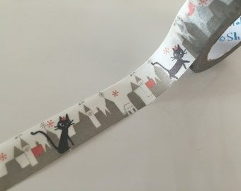 Black cat in city washi tape - 10 meters WT802 Shinzi Katoh
