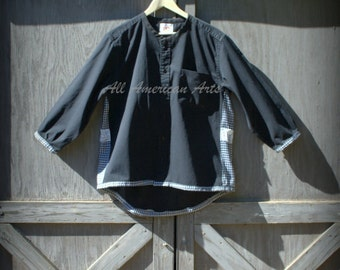 Upcycled Repurposed Man's Black Shirt Refashion Ladies Tunic Jacket Crochet Heart Size Large
