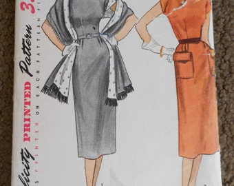 Vintage Sewing Pattern, Simplicity 3574 Misses' Dress Pattern Size 16 Bust 34, 1950s Pattern Dress With Stole