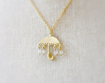 Umbrella Necklace. Gold Umbrella Pendant. Rain Drop Jewelry. Umbrella Charm. Crystal Dangle. Whimsical Jewelry
