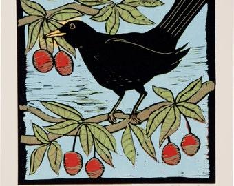 linocut, black bird, bird, cherry, red, black, nature, printmaking, square print, home interior, wall art, print