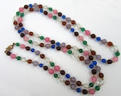 "Glass Bead Necklace - Deco Multi-color round and clear faceted glass beads - 21""  - Flapper beads"