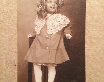 Antique Photo - Girl - Lace Collar - Cute Hat