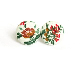 Floral stud earrings - vintage style button earrings - fabric button earrings - post earrings green red white brown
