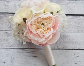Ivory and Blush Wedding Bouquet - Peony Hydrangea Rose and Calla Lily Bridesmaids Bouquet