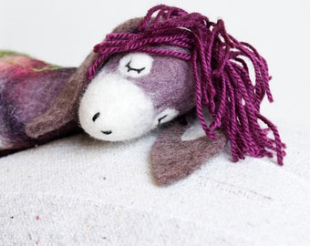 Bertha - Felt Donkey. Art Toy. Felted toy, Felt Animals, Christmas gift, Puppet, Handmade felt donkey. purple red pink green. MADE TO ORDER