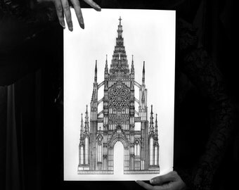 Gothic Cathedral Architecture Drawing - Ex Cathedra 11x17 Fine Art Religious Architectural Print - FREE SHIPPING to US