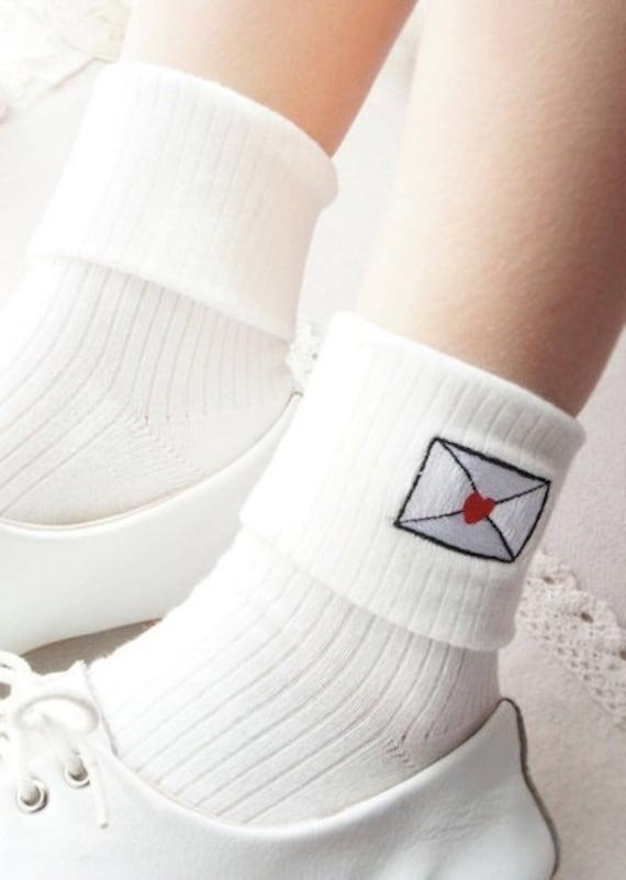 1950s Socks- Women's Bobby Socks Embroidered Love Letter Bobby-Socks $8.50 AT vintagedancer.com