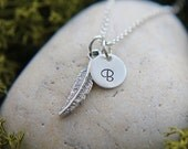 SALE, Feather Necklace, Sterling Silver Feather Necklace, Hand Stamped Initial Jewelry, Feather Jewelry, Initial Necklace, Personalized gift