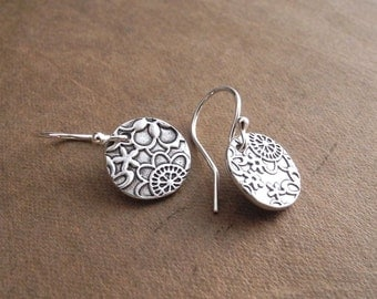 Flowered Earrings, Fine Silver Floral Earrings, Argentium Sterling Silver Ear Wires, Made To Order