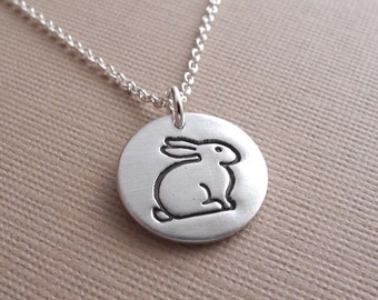 Small Rabbit Necklace, Bunny Necklace, Fine Silver, Sterling Silver Chain, Made To Order