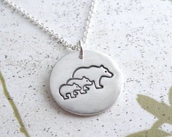 Mother Bear with Two Cubs Necklace, Mom and Two Kids, Two Children Jewelry, Fine Silver, Sterling Silver Chain, Made To Order