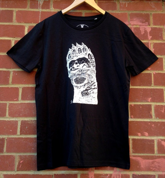 Bear paw screen printed organic t shirt 100 by for Cost to screen print t shirts