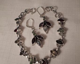 STERLING GENUINE GEMSTONES / Bracelet / Bangle / Pierced Earrings / Amethyst / Peridot / Ruby / Demi-Parure / Jewelry Set / Accessories Lot