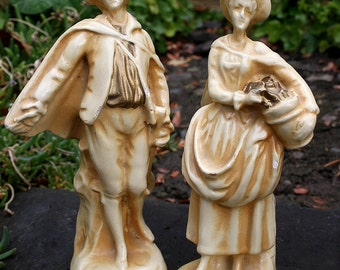 Vintage Chalkware Colonial Couple - Peasants - Pilgrims - Man and Woman Shabby Chic Figurines -French Feel Home Decor