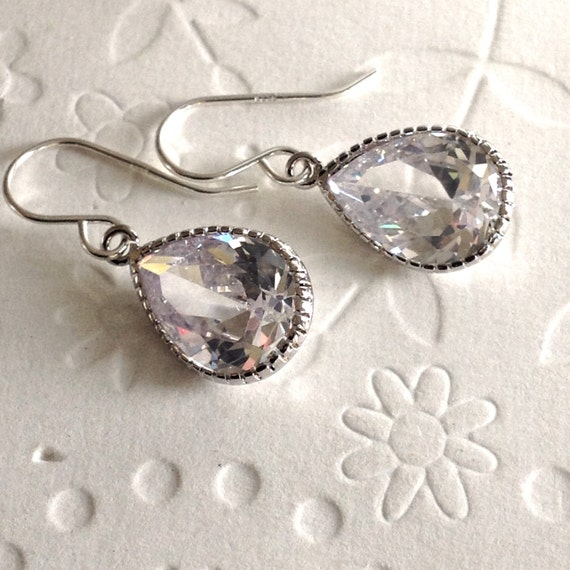 Wedding jewelry, wedding earrings, bridesmaid jewelry, cubic zirconia jewelry, Mothers Day jewelry