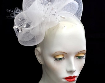 Elegant white crin and beaded fascinator whimsy hat - ideal for weddings or races