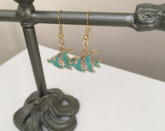 Aqua fish earrings