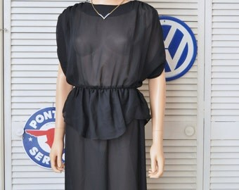 Vintage 70s 80s Womens Sheer Black Dress/Disco Bodycon Wiggle/Ruffled Peplum/Uptown Expressions/Small Juniors Polyester/Retro 80s does 40s