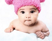 SALE 6 to 12m Pink Pom Pom Hat, Pink Baby Girl Pom Pom Bear Hat, Hot Pink Baby Hat, Double Pom Pom Beanie, Baby Pink Hat Baby Photo Prop