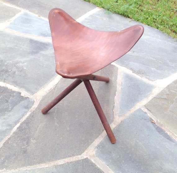 Vintage 1950s Leather Camp Stool Folding Three Legged